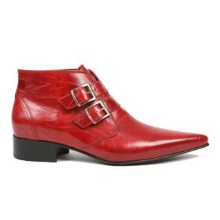 1960 Winkle.Picker : Jonny -  2 Buckle Red Ankle Boot