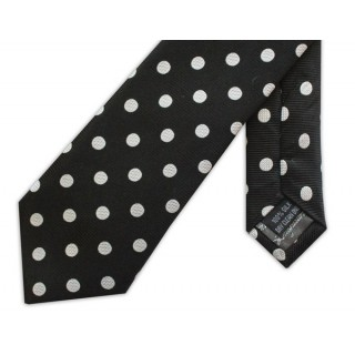 Black With White Polka Dots Silk Skinny Tie