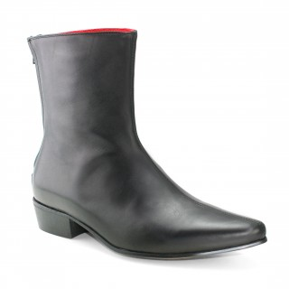 Sale : Back Zip Boot - Black Calf Leather