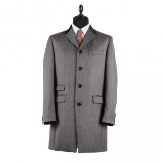 Sale : Lennon Frock Coat - Grey Herringbone