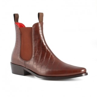 Sale : Classic Boot - Walnut Croc Print Leather