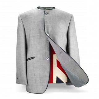 Sale : The Collarless Jacket - Silver Grey