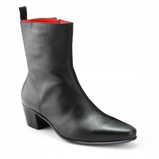 High Zip Boot - Black Calf Leather