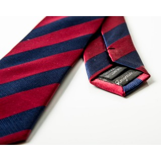 Burgundy / Navy Stripe Silk Skinny Tie