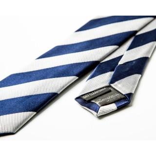 Silver / Navy Stripe Silk Skinny Tie