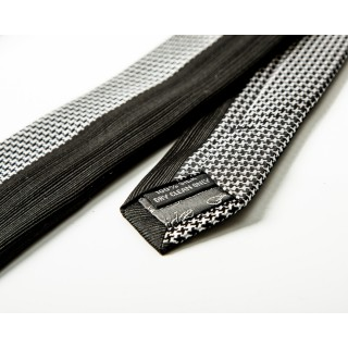 Two-Tone Houndstooth & Black Silk Skinny Tie