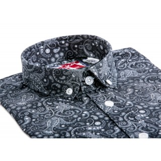 Sale : Black Paisley Mod Button Down Shirt