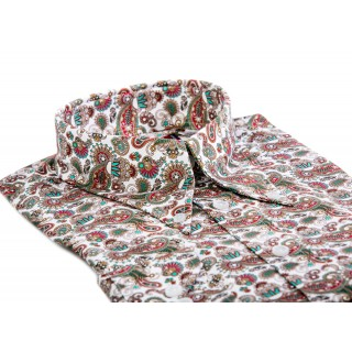 Red & Teal Paisley - Long Pointed B/D SGL Cuff Shirt