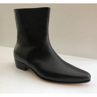 Low Zip Boot - Black Calf Leather