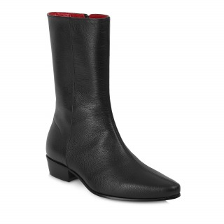 Discontinued Finish : Low Lennon Boot - Black Grain Leather