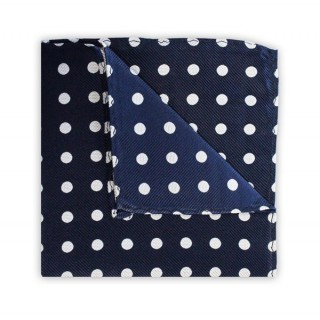 Navy With White Polka Dots Printed Silk Pocket Square