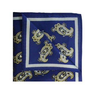 Final Sale : Retro French Navy With Large White Paisley Print Silk Pocket Square