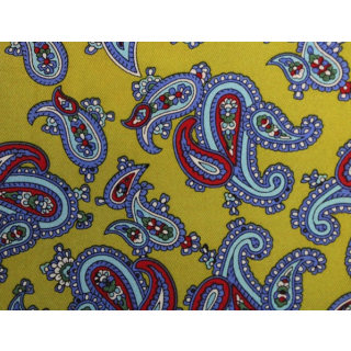 Yellow With Sky Blue Paisley Aviator Scarf