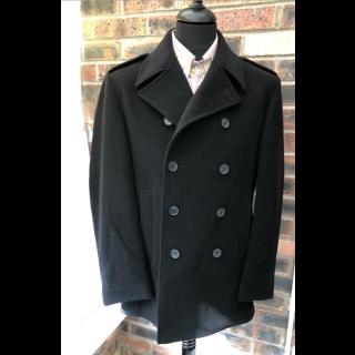Sample Sale : Black Wool Pea Coat 40R