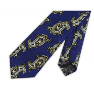 Final Sale : Retro French Navy With Large White Paisley Silk Skinny Tie