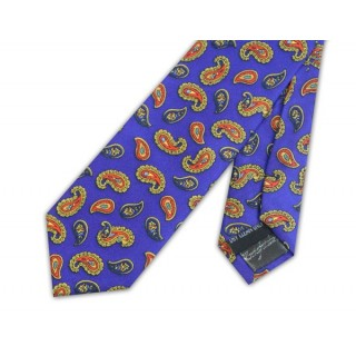 Royal Blue With Orange Paisley Silk Skinny Tie