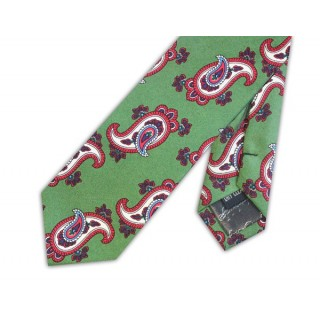 Final Sale : Olive Green With Red Paisley Silk Skinny Tie