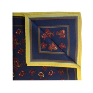 Navy With Yellow Small Paisley Printed Silk Pocket Square
