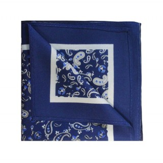 French Navy With White Paisley Printed Silk Pocket Square