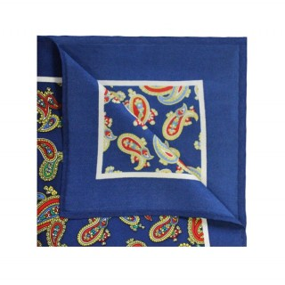Final Sale : French Navy With Orange Paisley Printed Silk Pocket Square