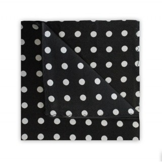 Black With White Polka Dots Printed Silk Pocket Square