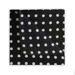 Final Sale : Polka Dot Black Printed Silk Pocket Square