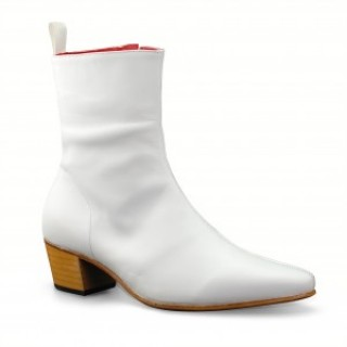 High Zip Boot - White Calf Leather