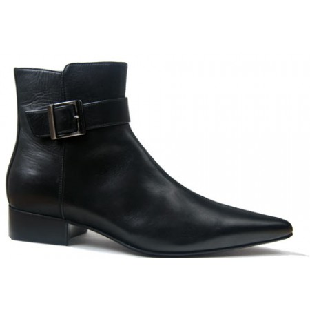 1960 Winkle.Picker : Adam - Black Buckle Boot