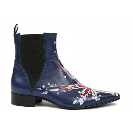 1960 Winkle.Picker : Bo - Blue Union Jack High Gusset Boot