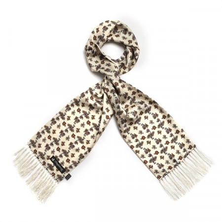 Cream With Burgundy Small Paisley Aviator Scarf