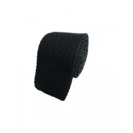 Plain Black Silk Skinny Knitted Tie
