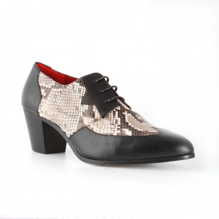 Archie Eyebrows : Amechi Shoe - Black Box Calf & Natural Python
