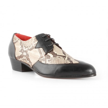 Archie Eyebrows : Luis Shoe - Black Box Calf & Natural Python
