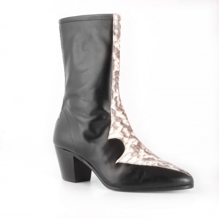 Archie Eyebrows : Larry Boot -Black Box Calf & Natural Python