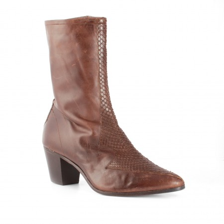 Archie Eyebrows : Larry Boot- Brown Box Calf & Brown Python