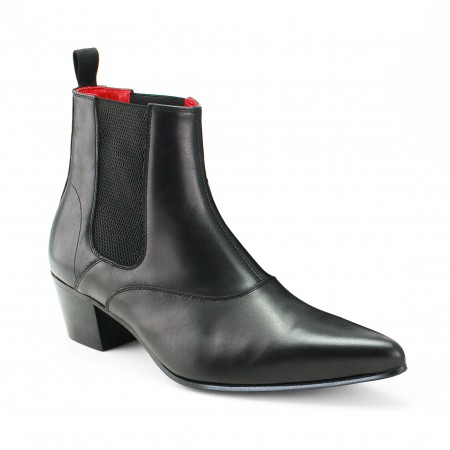 Winkle Picker Boot - Black Calf Leather