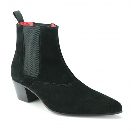 Beatwear Bargain : Winkle Picker Boot in Black Suede