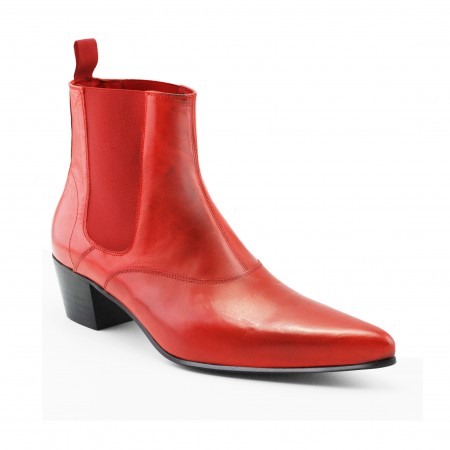 Discontinued Colour : Winkle Picker Boot - Red Calf Leather