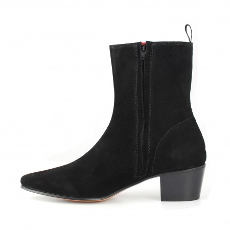 High Zip Boot - Black Suede