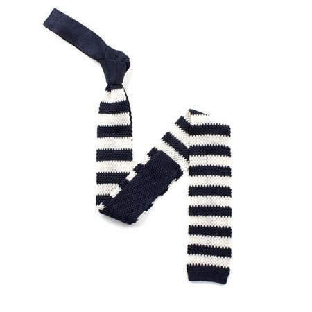 Final Sale : Navy And White Stripe Silk Skinny Knitted Tie