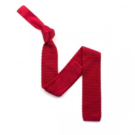 Final Sale : Plain Red Silk Skinny Knitted Tie