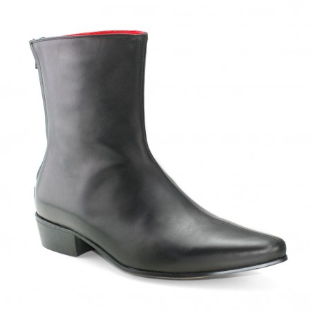 Sale : Back Zip Boot - Black Calf Leather-41 (UK 7 / US 7.5)