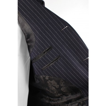 Sale : The Lennon Mod Jacket - Navy Blue Pinstripe