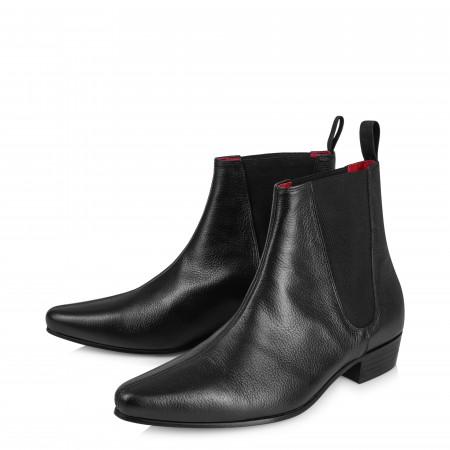 Low Cavern Boot - Black Grain Leather