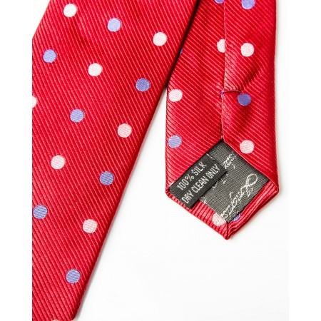 Final Sale : Red With Royal Blue & White Polka Dots Silk Skinny Tie