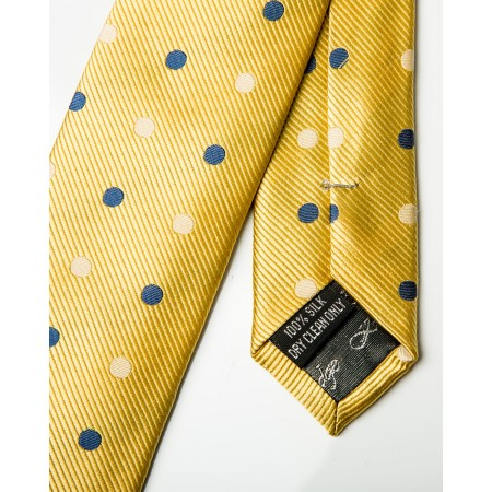 Yellow With Navy & White Polka Dots Silk Skinny Tie