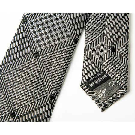 Final Sale : Black & Silver Diamond Silk Skinny Tie