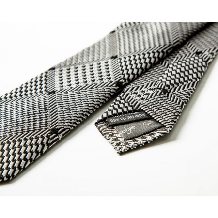 Black & Silver Diamond Silk Skinny Tie