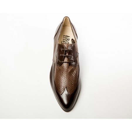 Archie Eyebrows : Luis Shoe - Brown Box Calf & Brown Python
