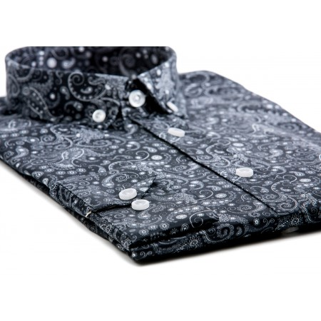 Black Paisley Mod Button Down Shirt